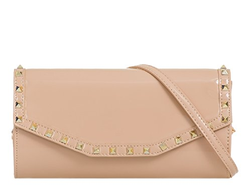 Bag Faux Purse Studded Ladies Envelope Bridal Wallet Clutch Nude Women's Patent KL875 Handbag XdwqwF
