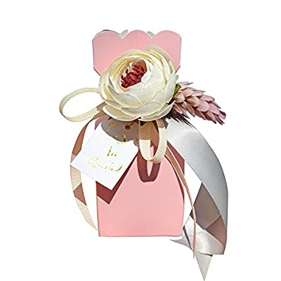 Moleya Pack of 20 pcs DIY Wedding Favors Candy Boxes with Ribbon and Flower for Engagement, Bridal Shower Party