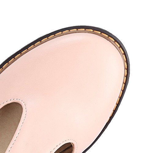VogueZone009 Women's Low-Heels Solid PU Buckle Round-Toe Pumps-Shoes Pink 81LWT9YH