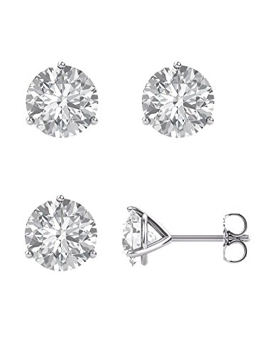 14k White Gold Martini 3 prong post earrings Forever ONE Colorless Moissanite solitaire ()