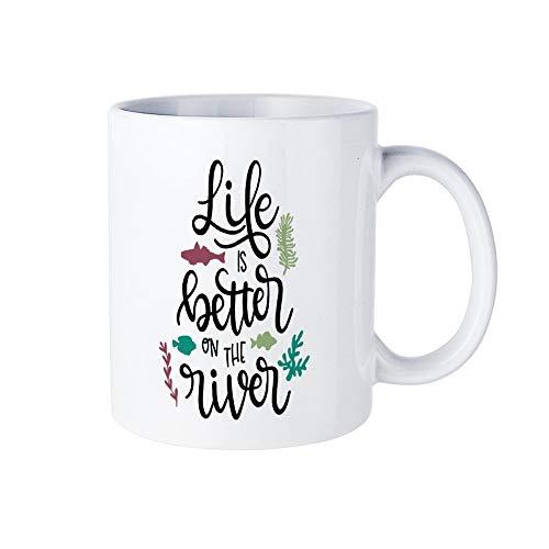 DKISEE Life Is Better On The River Coffee Mug Novelty Ceramic Mug Birthday Christmas Anniversary Gag Gifts Mug Cup, White, 15 -