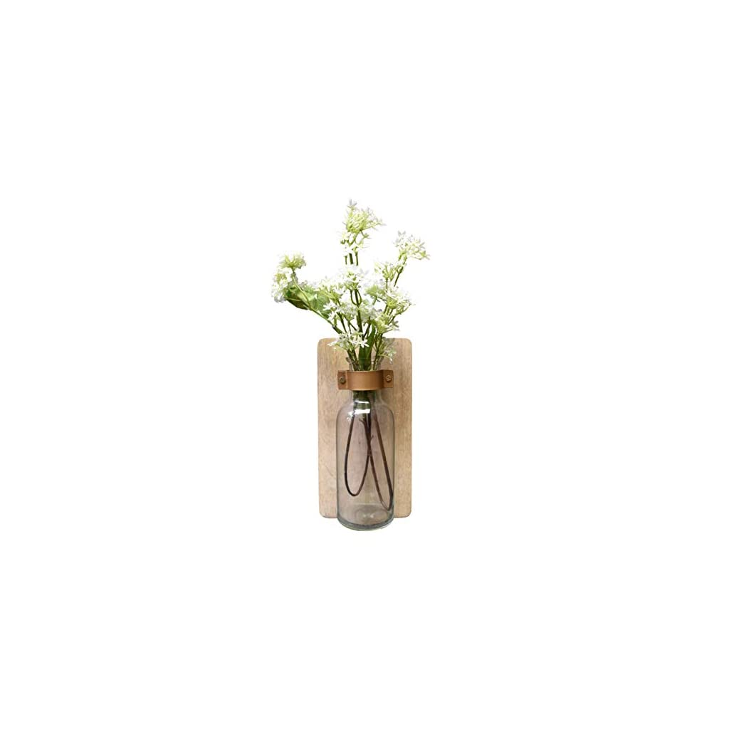 Rustic Wall Hanging Decor Flower Vase with Artificial Flowers. Fake Silk Hydrangea and Cherry Blossom Arrangement with Decorative Sconce. Farmhouse Style Assent for Home or Office by AIKYA Home Decor
