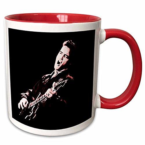 3dRose 256792_5 Elvis Presley With His Guitar. Ceramic Mug, 11 oz, Red/White