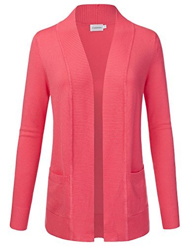 JJ Perfection Women's Open Front Knit Long Sleeve Pockets Sweater Cardigan Coral 1XL ()