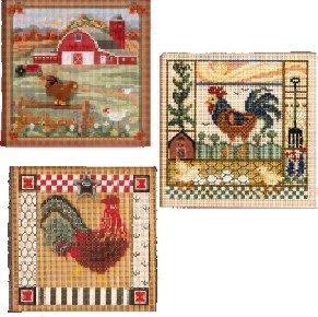 3 Item Bundle-Buttons and Beads Counted Cross Stitch: Country Morning, Barnyard Morning & Folk Art Rooster by LGS