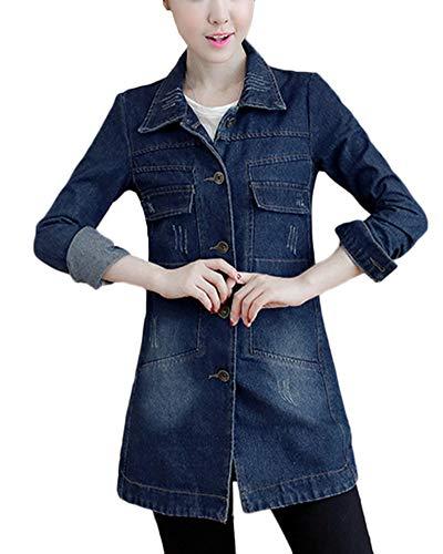 Longues Veste Manches Jacket Manteau Bleu en Jean Vent Blouson Fonc Coupe Slim Fit Casual Denim Femme IwUXYY