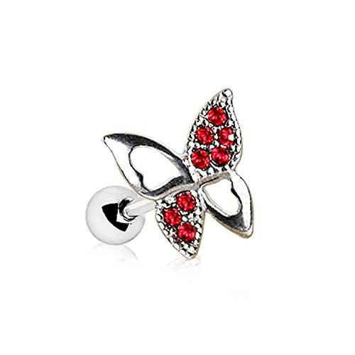 Little Aiden Red Jeweled Butterfly with Heart Wings Cartilage Earring 316L Stainless Steel Size 16GA 1/4