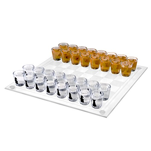 TMG Deluxe Shot Glass Chess Checkers Drinking Game Set - 2 G