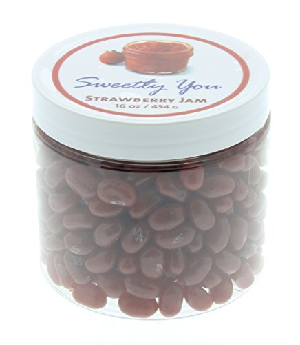 Jelly Belly Strawberry - Jelly Belly 1 LB Strawberry Jam Flavored Beans. (One Pound, 1 Pound) Bulk Jelly Beans in a resealable and reusable jar.