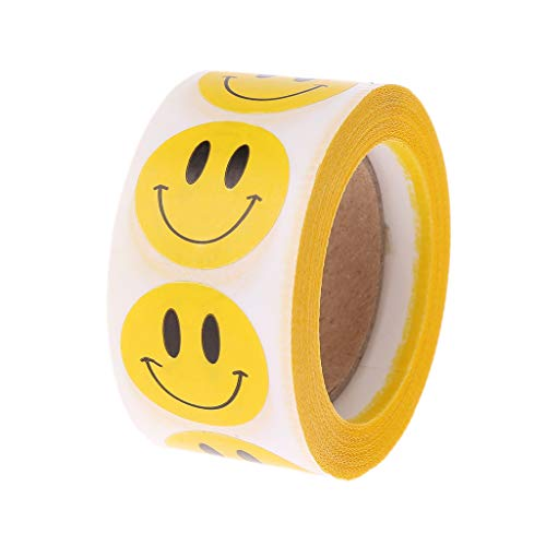 Redriver Cartoon Smiley Face Seal Sticker for Envelope Scrapbook DIY Gift Label Tags Decoration Party Invitations (500 Pcs/1 Roll)]()