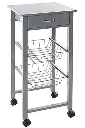 JJA JJ114234 - Mesa auxiliar de cocina con ruedas, color gris: Amazon.es: Hogar