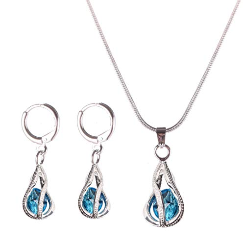Yuhuan Womens Zircon Pendant Jewelry Set Gold/Silver Plated Chain Necklace and Earrings (Lake Blue)
