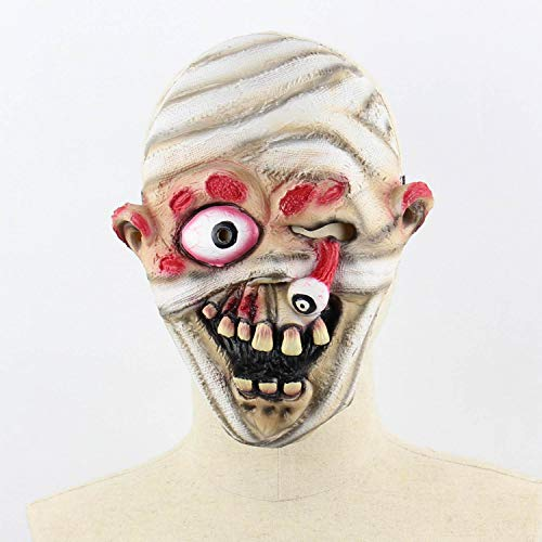 Party Masks - Horror Darkness Zombie Mummy Fire Face Smelly Halloween Room Escape Haunted House Prop Scary Latex - Adult Headbands Stick Gold Glasses Pack Masquerade Male Bulk Sticks Adults]()
