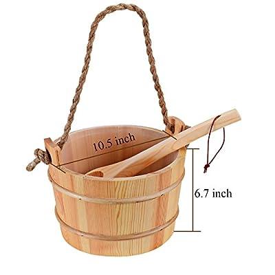 Bestnewie Sauna Bucket with Ladle and Wool Felt Sauna Seat Pad- Handmade Wooden Sauna Bucket Sauna & SPA Accessory - 5 Liter (1.3 Gallon) Sauna Bucket