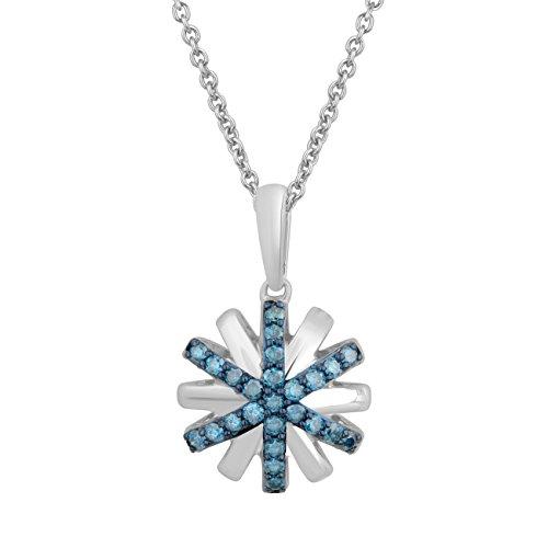 Jewelili femme  Argent 925/1000  Argent|#Silver Rond   Bleu Diamant