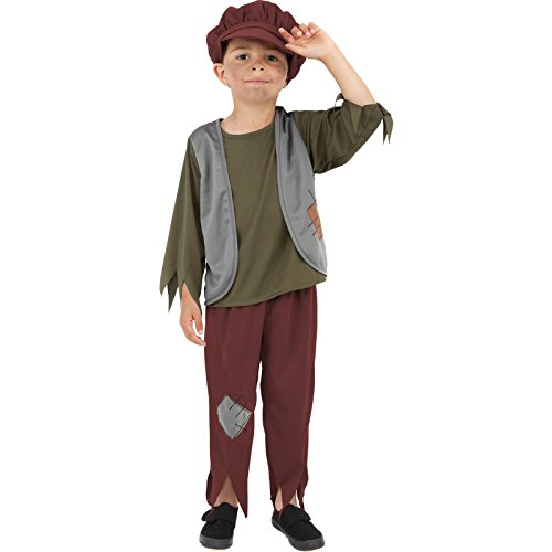 Dickensian Children's Costumes (Smiffy's Children's Victorian Poor Boy Costume, Top, Trousers & Hat, Ages 4-6, Size: Small, Color: Green,)