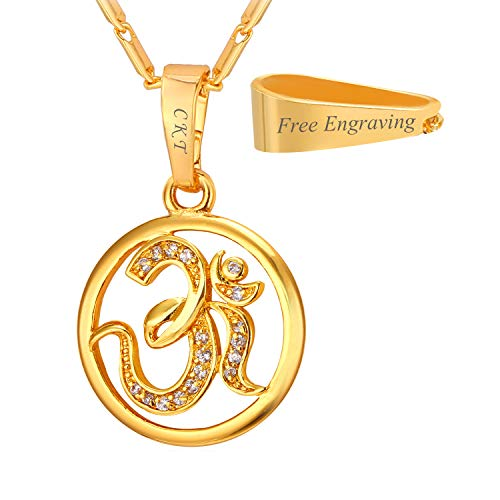 (U7 AUM OM Pendant Charm Necklace India Hinduism Jewelry Cubic Zirconia Inlaid Amulet Lucky Gift Necklace for Women/Girls (18K-Gold-Plated (Personalized)))