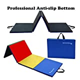 "PreGymanstic 8'x4'x2""/6'x2'x1.2"" Folding Gymnastics Tumbling Mat, Scratch-Proof Oxford Cover with Professtional Anti-Slip Bottom, Better Than Vinyl or PE Material, Exercise Mat, Gym Mat"