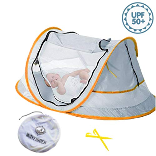 (Wayfinder TravelTot, Baby Travel Tent Portable Baby Travel Bed Indoor & Outdoor Travel Crib Baby Beach Tent UPF 50+ UV Protection w/Mosquito Net and 2 Pegs (Gray/Orange))