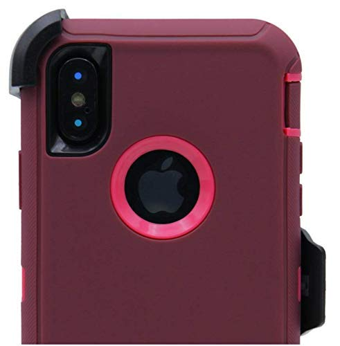 sneakers for cheap cf38a af4aa OtterBox Defender Case for iPhone XR with Belt Clip Holster fits OtterBox  with Tempered Glass Screen Protector - Burgundy Pink
