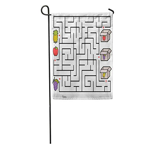 jiebokejiHFGD Garden Flag Kids Maze Game Pick Fruits Box Worksheet for Education Apple Home Yard House Decor Barnner Outdoor Stand 12x18 Inches Flag