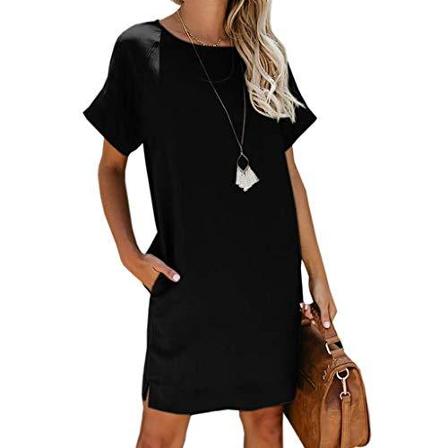 - Longay Women's Fashion Short Sleeve O-Neck Solid Mini Dress Wirh Pockets (L, Black)