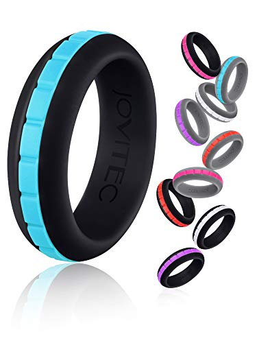Jovitec 7 Pieces Women Silicone Rings, DIY Silicone Rings, Silicone Wedding Rings, Wedding Bands Workout Silicone Ring Set for Women and Men, 8 mm Wide (Size 7 (17.4 mm Diameter))