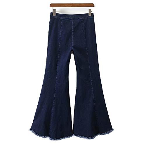 Cintura Cadera Mezclilla LJYASD Alta Deshilachados Bordes Acampanados Pantalones Hipster Street Pantalones Pantalones Blue Asimetría x11FwT0qz