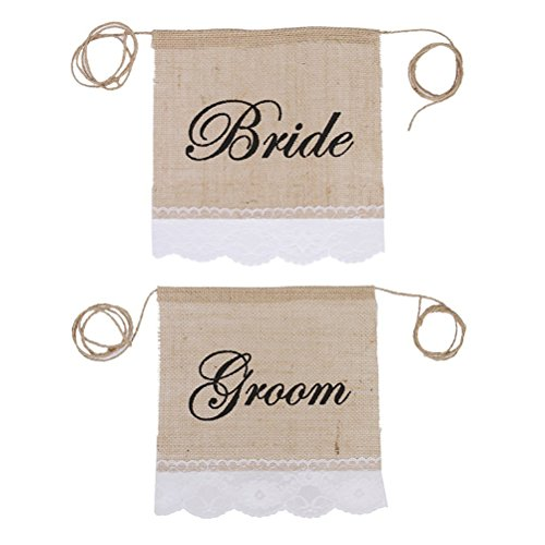 Fenical 2pcs Bride Groom Chair Signs Vintage Burlap Bunting Banner Wedding Decoration (Bride And Groom Signs)