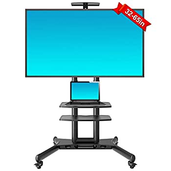 Image of ABCCANOPY Mobile TV Cart, Rolling TV Stands with Storage Shelves & Heavy Duty Base for 32-65 Inch LED LCD OLED Flat Screen, Plasma TVs TV Monitors