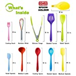 11pc Silicone Kitchen Utensil Set by CuisineFacets Colorful Cooking Utensils with Spatula, Serving Tools, Accessories and FREE Spoon Rest - Heat Resistant Spatulas and Spoons for Non-Stick Cookware 11 ✅11PC incl. FREE SPOON REST: Imagine how many colorful food creations you can now unleash all at once, because your utensil set includes everything! Silicone Wisk, Pastry Brush, 2x Spatulas, Slotted Spoon, Salad Spoon, Food Tong, All-Purpose Spoon, large Ladle, Slotted Turner, and BONUS Spoon Rest. ✅HEAT RESISTANT & EASY TO CLEAN: From the Rainbow Whisk to the Pink Pastry Brush, just pop your silicone kitchen utensils in the dishwasher to clean. Everything is made from FDA Compliant Food Grade Silicone and can withstand temperatures up to 446°F... like steaming hot pasta, pumpkin soup or pancakes. ✅WHAT'S YOUR FAVE? If you're like most people, there are always 1 or 2 kitchen tools you love the most. And if you're like us, it could even be because of color. Either way, our Cheery Utensils Set from CuisineFacets gives you the best of both - your favorite non-stick kitchen utensils, in your favorite colors too.