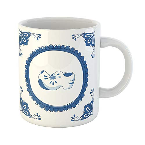 Emvency Funny Coffee Mug Wooden Delft Blue with Pair of Cloggs Typical Dutch Shoes No Gradients Clog Flower 11 Oz Ceramic Coffee Mug Tea Cup Best Gift Or - Dutch Blue Shoe
