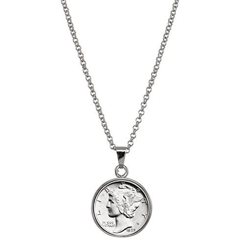 American Coin Treasures Silver Mercury Dime Silvertone Coin Pendant with 18