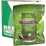 Laura's Lean Beef Organic Grass Fed Jerky, Teriyaki, 3 Oz Bags (Case of 8)