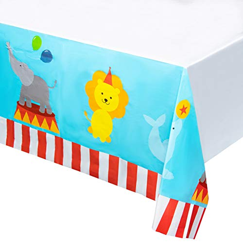 Circus Plastic Tablecloth - 3-Pack 54 x 108 Inch Disposable Table Cover, Fits Up to 8-Foot Long Tables, Circus Themed Party Decoration Supplies, 4.5 x 9 Feet]()