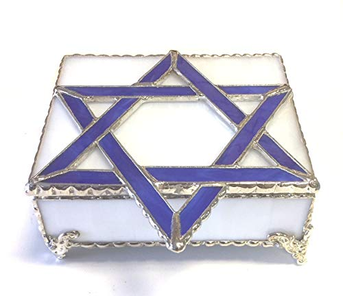 (Blue & White Jewish Star of David Stained Glass Box)