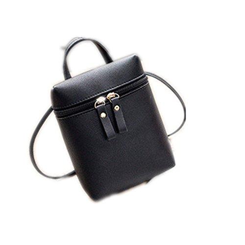 1 Pcs Xuxuou Mujeres Populares Pequeñas Cremallera Cubo Hombro Bolsas de cuerpo cruzado Mini Teléfono Celular Monedero Bolsos Únicos de Moda Nuevo Negro