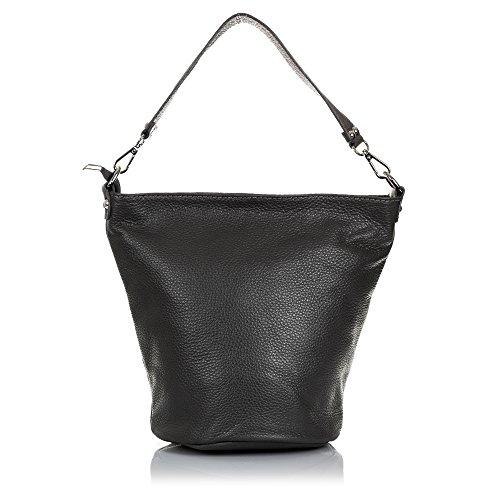 FIRENZE ARTEGIANI.Bolso de mujer piel auténtica.Bolso cuero genuino, piel DOLLARO,tacto suave.Forma diseño. MADE IN ITALY. VERA PELLE ITALIANA. 28x24x18 cm. Color: GRIS