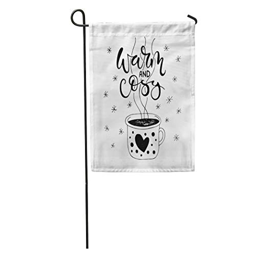 Semtomn Garden Flag Warm and Cosy Handlettering of Enameled Cup Hot Tea Housewarming Home Yard House Decor Barnner Outdoor Stand 28x40 Inches - Enameled Flag Gold