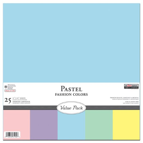 Light Colors Pastel Cardstock Scrapbook Paper - Construction Paper, 12 by 12 (25 Sheets) by THE PAPER COMPANY