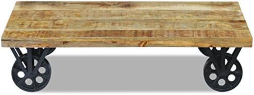 Lage Prijs Te Koop Festnight salontafel van mangohout met wielen, 120 x 60 x 30 cm  06sAORn