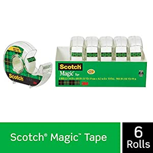 Scotch Brand Magic Tape, 6 Dispensered Rolls, Writeable, Invisible, The Original, Engineered for Repairing, Great for Gift Wrapping, 3/4 x 650 Inches (6122) -2 Pack
