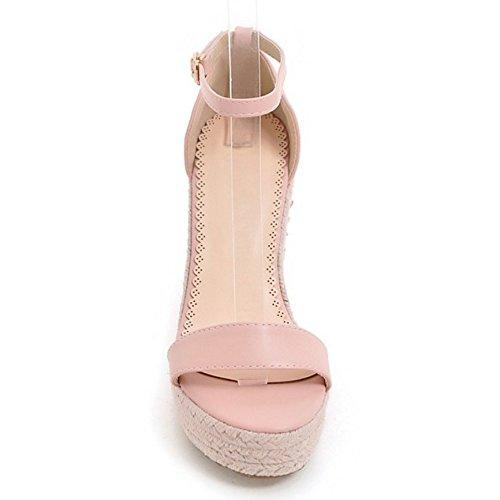COOLCEPT Mujer Moda Correa de Tobillo Sandalias Tacon de Cuna Punta Abierta Zapatos con Flor Tamano Rosado