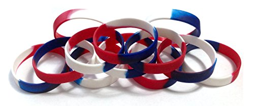 Patriotic Band - TheAwristocrat 1 Dozen Multi-Pack Red White & Blue Patriotic Wristbands Bracelets Silicone Rubber - Select from a Variety of Colors (Red White & Blue Segmented, Youth (7