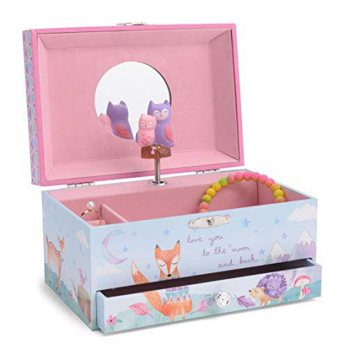 JewelKeeper Girl's Musical Jewelry Storage Box Pullout Drawer, Woodland Owls Design, Twinkle Twinkle Little Star Tune -