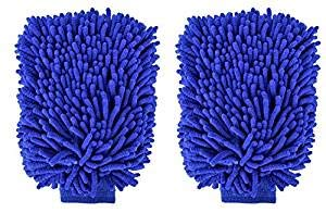 "choolo Car Wash Mitt, 8"" x 11"" Microfiber Wash Sponge,Scratch Free Wash Glove with Normal Size Polishing Cloth for Car/SUV/Truck(2 Pack)"