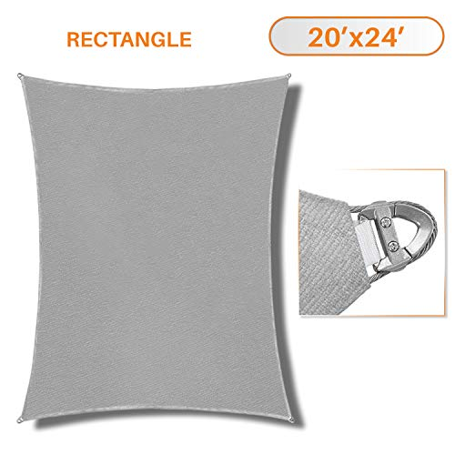 Sunshades Depot A Ring Design Steel Cable Wire Reinforcement Sun Shade Sails 20 x 24 Rectangle Light Gray Heavy Duty Permeable 260 GSM