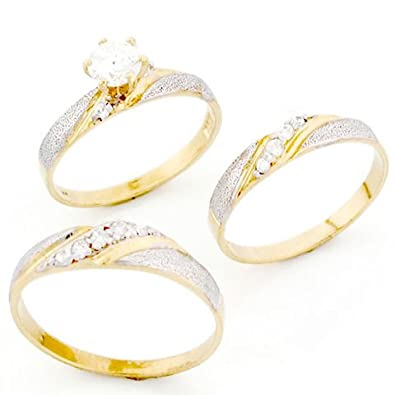 9ct Two Colour Gold His Hers Trio CZ Wedding Ring Sets Amazonco