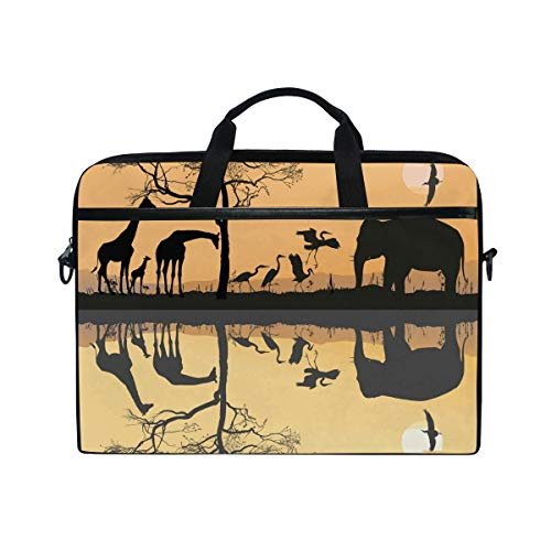 (Anmarco Savana Giraffes Herons and Elephant Laptop Shoulder Messenger Bag Case Sleeve for 14 Inch to 15.4 inch Laptop)