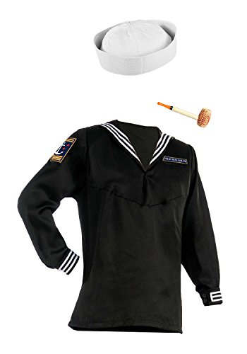 Nicky Bigs Novelties White Sailor Hat Corn Cob Pipe and Black Sailor Shirt Popeye Costume (Popeye Corn Cob Pipe)